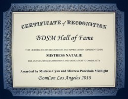Certificate of Recognition BDSM
